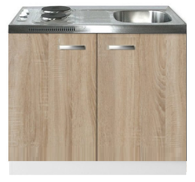 Keukenblok Padua houtnerf 100cm met twee deuren incl e-kookplaat RAI-1215