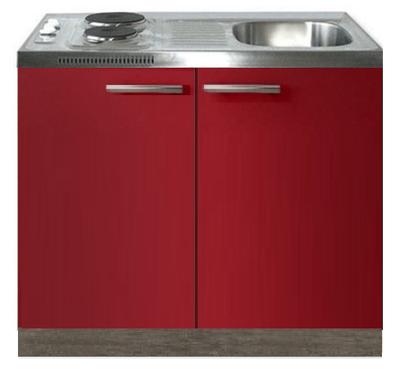 Keukenblok Rood hoogglans 100cm met twee deuren incl e-kookplaat RAI-1216