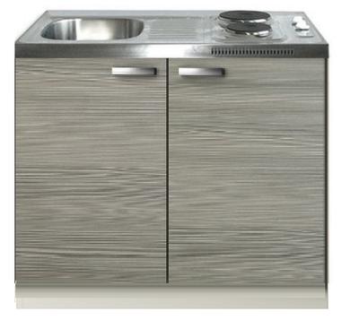 Keukenblok Grijs-bruin 100cm met twee deuren incl e-kookplaat RAI-1226