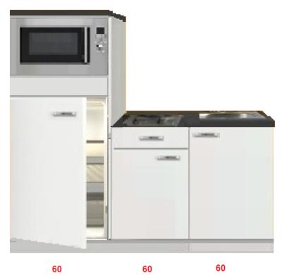 Keukenblok 180 wit hoogglans incl koelkast en magnetron RAI-3303