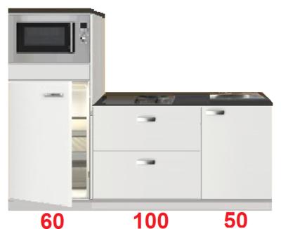 Keukenblok 210 wit hoogglans incl koelkast en magnetron RAI-3306