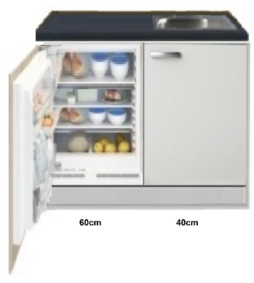 Kitchenette 100cm Lagos wit hoogglans incl inbouw koelkast RAI-258