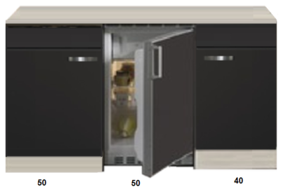 Kitchenette Faro Antraciet 140cm met koelkast HRG-123