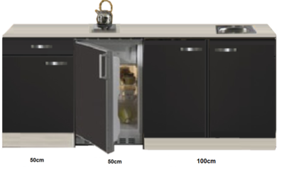 Kitchenette Faro Antraciet 200cm met koelkast HRG-586