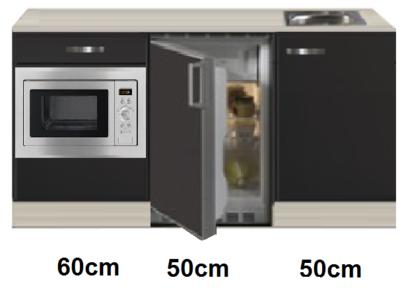 Keukenblok 160 Antraciet incl rvs spoelbak en koelkast en magnetron RAI-414