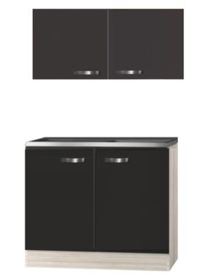 Keukenblok Faro Antraciet 100cm met rvs werkblad incl spoelbak RAI-020