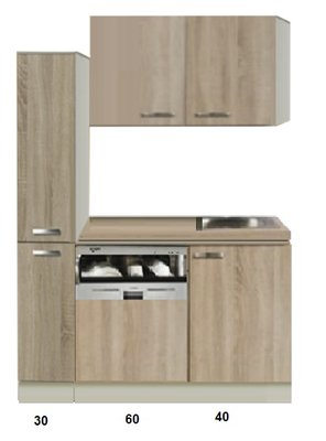 Keukenblok Padua 130cm met vaatwasser en apothekerskast RAI-440