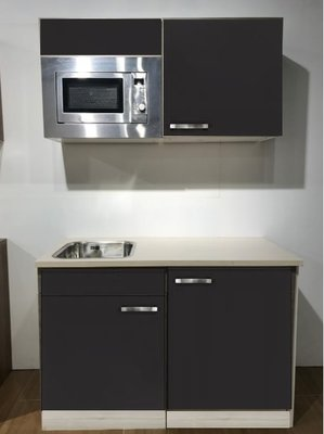 Keukenblok 120cm Antraciet incl koelkast en magnetron RAI-591