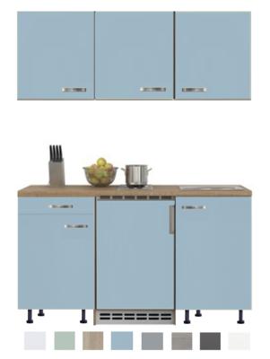 Keukenblok 150 Karat blauw incl koelkast en kookplaat en wandkasten RAI-915