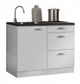 minikeuken 100cm wit hoogglans zonder bovenkasten en e-kookplaat RAI-11005