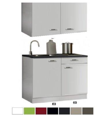 keukenblok 120 x 60 cm met een la + RVS aanrechtblad en wandkasten RAI-4413