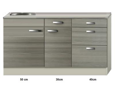 Keukenblok 120cm vigo grijz-rood RAI-4392