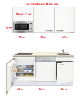 Keukenblok wit 180 cm incl koelkast, kookplaat en vaatwasser RAI-5299