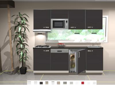 Keukenblok 200 cm Antraciet incl kookplaat, afzuigkap, vaatwasser, koelkast en magnetron RAI-189