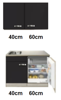 keukenblok 100cm incl inbouw koelkast en wandkasten RAI-545