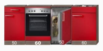 Kitchenette 220cm incl inbouw oven en onderbouw koelkast RAI-4682