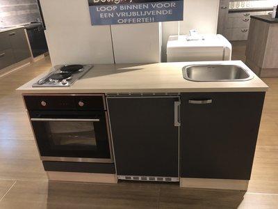 Voorgemonteerde kitchenette 160cm Antraciet incl inbouw apparatuur RAI-4422