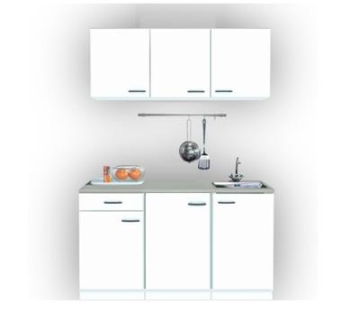 Keukenblok 150cm breed x 50cm diep wit met rvs spoelbak RAI-0010