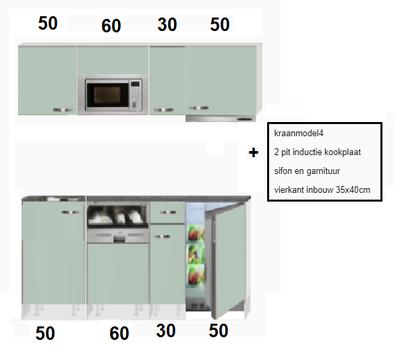 keukenblok 190 groen zijdeglans incl koelkast, kookplaat, afzuigkap en magnetron RAO-888