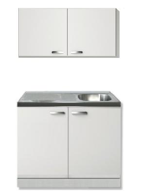 keukenblok wit hoogglans 100cm met wandkast RAI-552