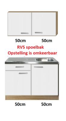 Keukenblok 100cm met wandkasten en rvs blad RAI-4488