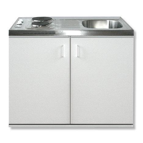 Minikeuken Wit 100x60 + RVS aanrechtblad en e-kookplaat RAI-199