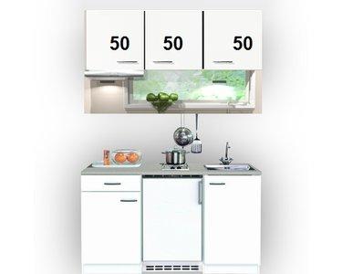 Single keuken Wit 150 cm incl. rvs spoelbak, koelkast en e-kookplaat en afzuigkap HRG-7400