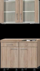 kitchenette 100cm met stelpoten en glazen wandkast RAI-400
