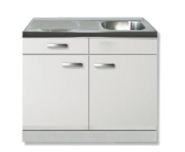 keukenblok 100 wit hoogglans met spoelbak RAI-271
