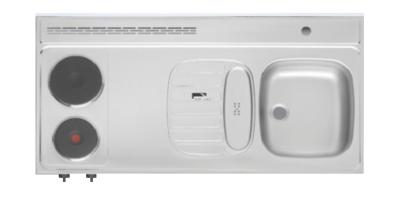 Rvs Aanrechtblad Opleg 120cm X 60cm Met 2 Pit Elektrische Kookplaat Rai 2553 Kitchenetteonline