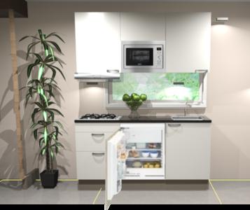 Keukenblok 180cm wit hoogglans incl kookplaat, afzuigkap, inbouwkoelkast en combi-magnetron RAI-11029