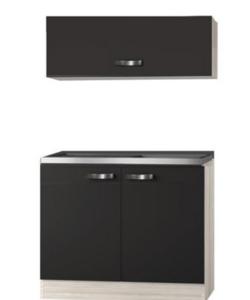 Keukenblok Faro Antraciet  100cm met klap wandkast OPTI-0114