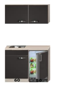Keukenblok 110cm Antraciet met koelkast en rvs spoelbak RAI-43011