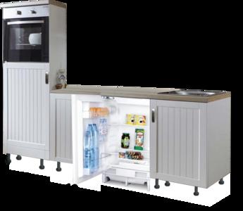 Design Keukenblok 210cm MDF met oven en inbouw koelkast RAI-8185