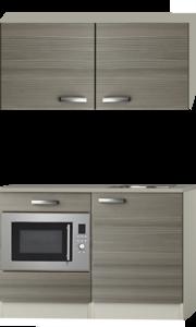 Keukenblok 100cm Grijs-bruin Vigo met wandkasten en magnetron RAI-516