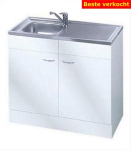 Keukenblok Klassiek 60 Wit met RVS aanrecht 100cm x 60cm RAI-0011
