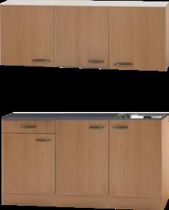 Keukenblok Beuken 150 x 50 diep met spoelbak en bovenkast RAI-449