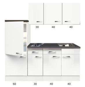 Kitchenette 170cm Lagos wint glans incl inbouw koelkast RAI-309