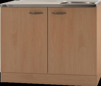 Keukenblok Klassiek 50 Beuken met RVS aanrecht 100cm x 50cm OPTI-68