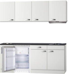 Kitchenette 190cm wit glans incl koelkast en afzuigkap HRG-508