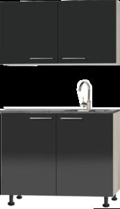 Keukenblok 100cm antraciet glans met wandkasten RAI-4473