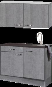 keukenblok 120cm Betonlook met wandksten en stelpoten RAI-054