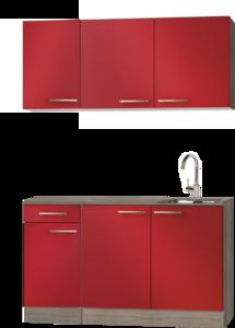 keukenblok Rood hoogglans 130 cm met wandkasten RAI-932