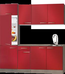 keukenblok Rood hoogglans 190 cm met inbouw koelkast en wandkasten RAI-998