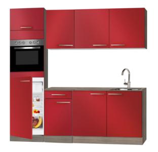 keukenblok Rood hoogglans 210 cm met inbouw koelkast, oven en wandkasten RAI-8547