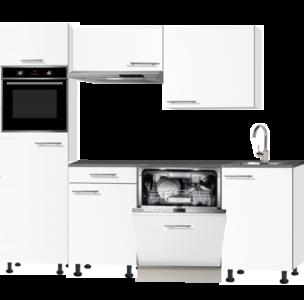 keukenblok 210cm wit mat met stelpoten en inbouw apparatuur RAI-3014.