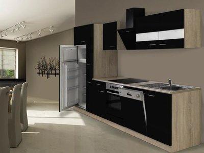 Keuken Hoogglans Zwart 310cm HUS-1429