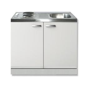 Keukenblok Lagos wit 100cm met twee deuren incl e-kookplaat  RAI-1201