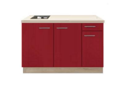 keukenblok Rood hoogglans 130 cm incl spoelbak RAI-04838