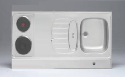 RVS aanrechtblad opleg 90cm x 60cm met 2-pit elektrische kookplaat RAI-284